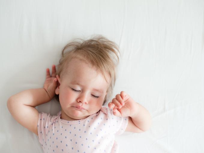 Baby waking up stretching